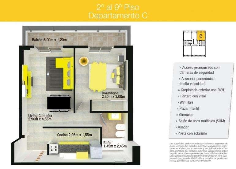 Venta departamante 1 dormitorio Edificio MIraggio