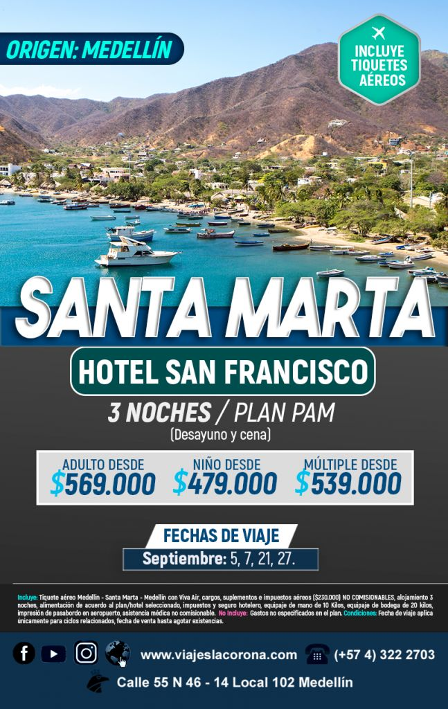 Viaje como un Rey a Santa Marta  Hotel San Francisco con Viajes la Corona