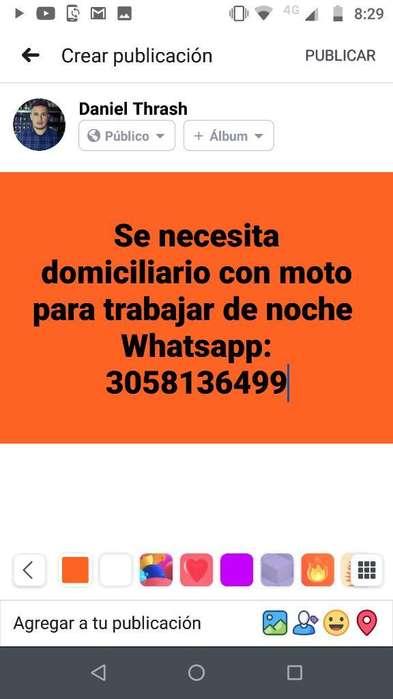 Se Necesita Domiciliario con Moto