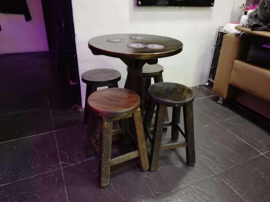 Mesa con 4 <strong>silla</strong>s para bar, madera 100% en perfecto estado
