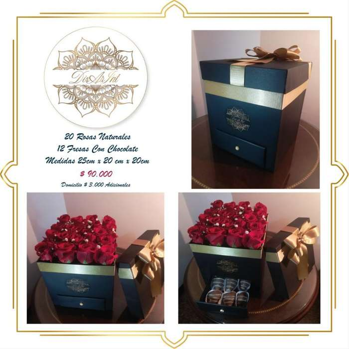 Caja de Rosas Naturales Fresas con Cho