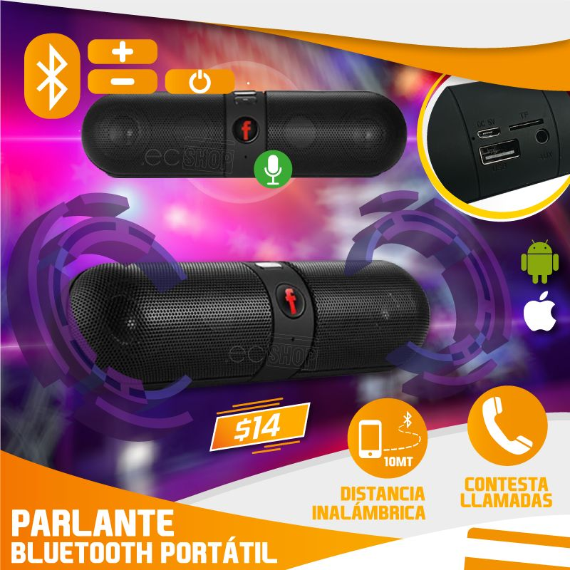 PARLANTE BLUETOOTH PORTABLE SD CARD AUX USB *RECARGABLE*
