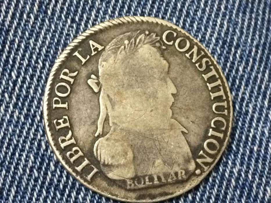 MONEDA BOLIVAR de plata, AÑO 1830