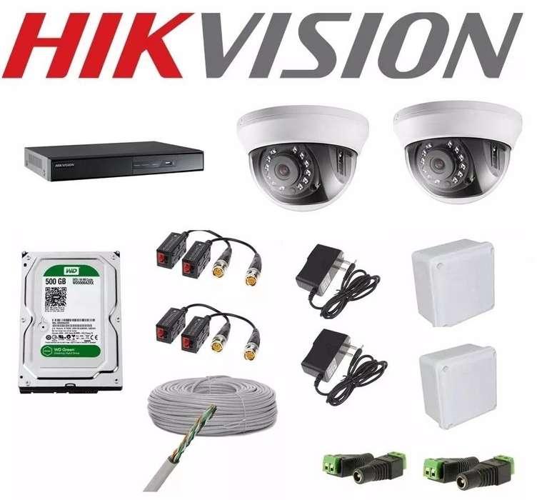 Kit Completo De 2 Camaras De Seguridad Hikvision 1 Megapixel Hd 720p disco 500gb .NUEVO. TIENDA EXONICA