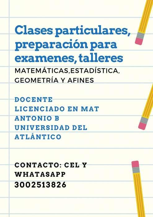 CLASES,TUTORIAS PARA EXÁMENES Y TAREAS EN MATEMÁTICAS,GEOMETRÍA,ESTADÍSTICA. CEL Y WHATASAPP 3002513826