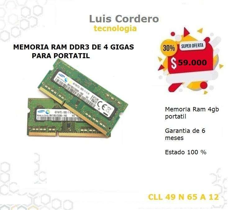 MEMORIA RAM DDR3 DE 4 GIGAS PARA PORTATIL