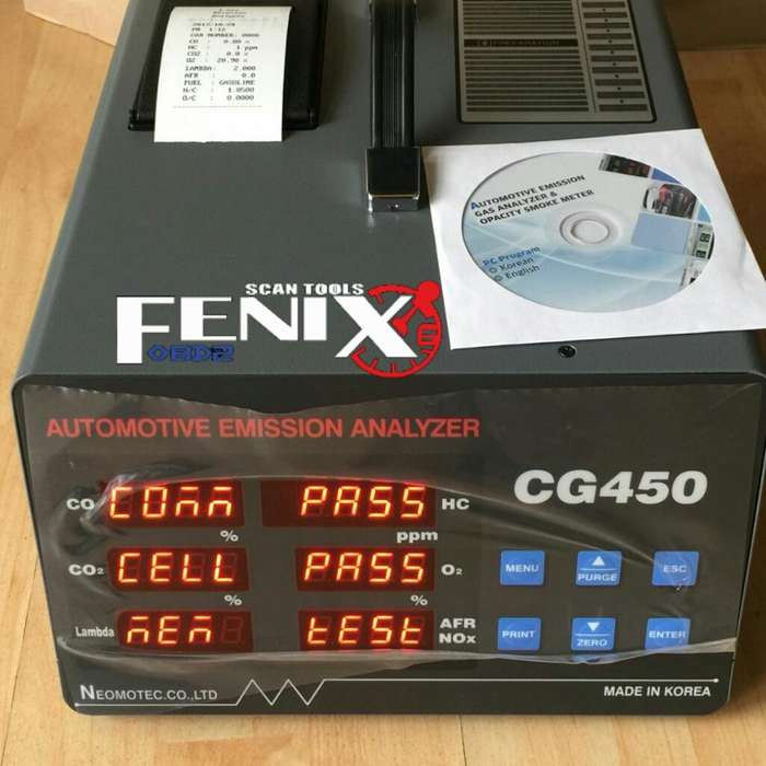 Analizador de gases automotriz CG450 Koreano distribuidor fenix obd2