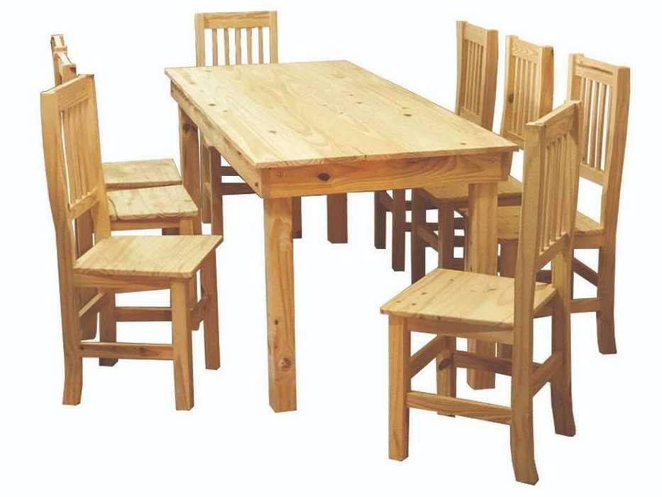 mesa de pino 180x80 8 sillas hindu original
