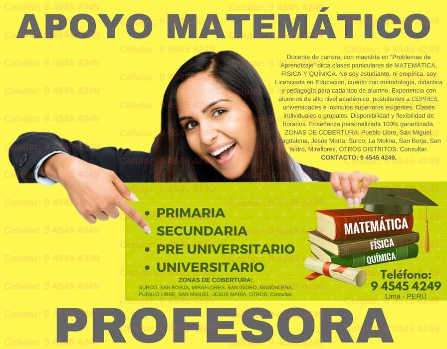PREPARATE CON LOS MEJORES PROFESORA LIC EN EDUCACIÓN DE MATEMÁTICA Y CIENCIAS NIVEL ESCOLAR CEPRE Y UNIVERSITARIO.