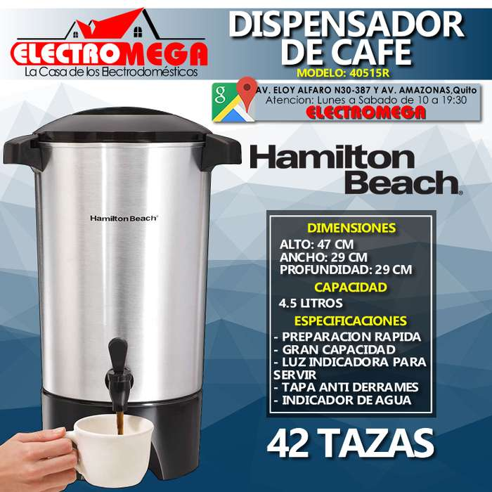 <strong>cafetera</strong> Dispensador De Cafe 4.5 L Hamilton Beach 42 Tazas