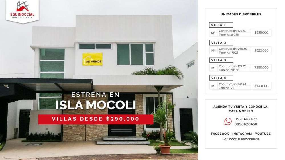 Venta de casa por estrenar en Samborondon, Isla Mocoli