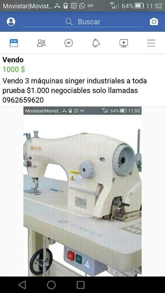 Vendo 3 Máquinas Industriales Singer