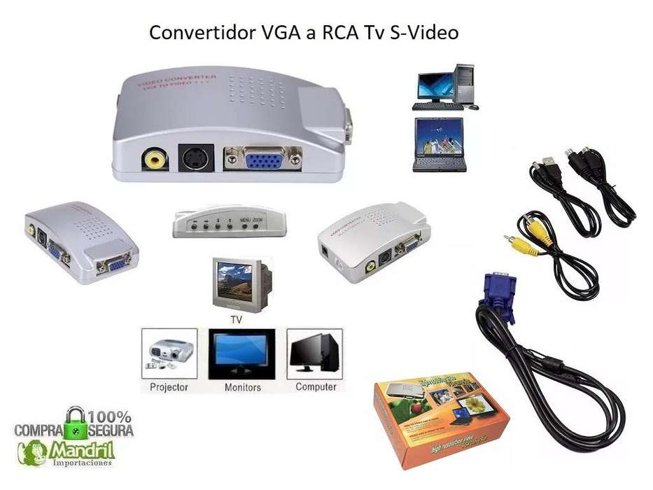 Convertidor Vga A Rca Tv Av Svideo Kit Completo Cables