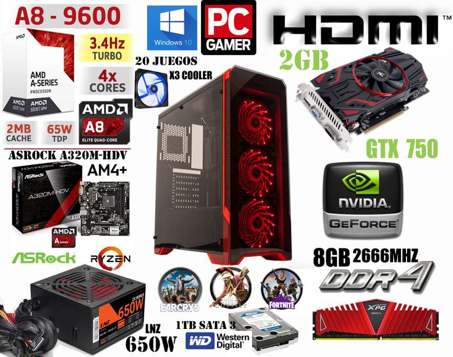 PC GAMER POWER 1 //NUEVA// AMD 9600 X4 / 1TB / 8GB / GTX 750 2GB / 650W