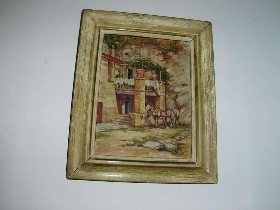 Antigua Pintura c Marco de Madera Original Firmado V. Llorca
