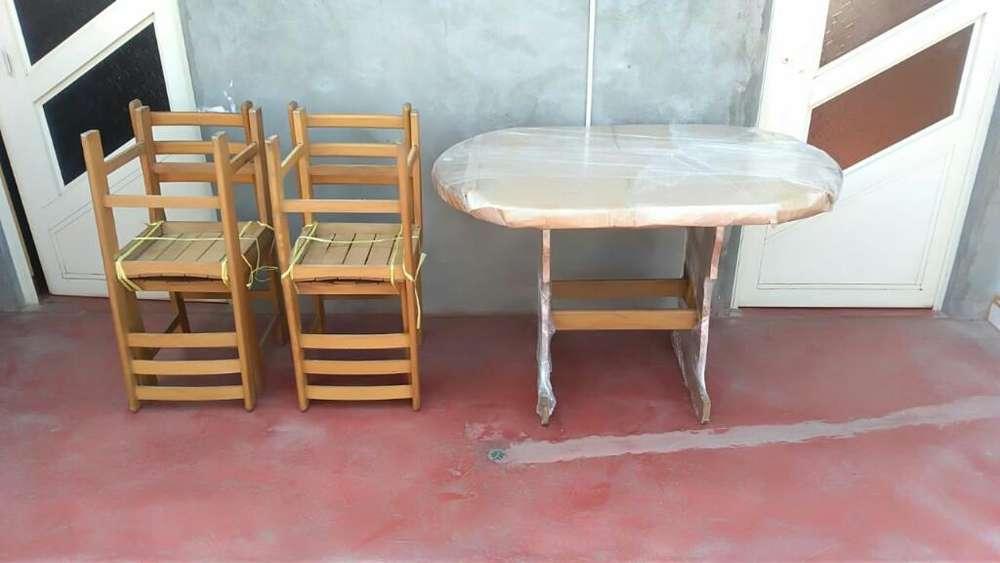 Mesa Y <strong>silla</strong>s de Madera Dura