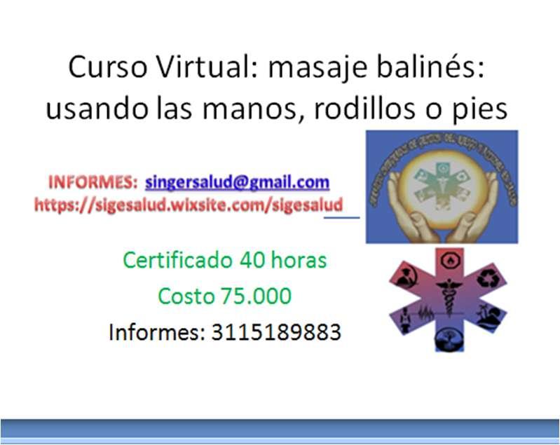 75.000 curso virtual masaje balinés: usando las manos, rodillos o pies