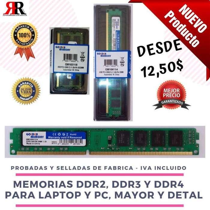 Memoria Ram Ddr2, Ddr3, Ddr4 2gb, 4gb, 8gb Laptop Y Pc Nuevas con Garantía