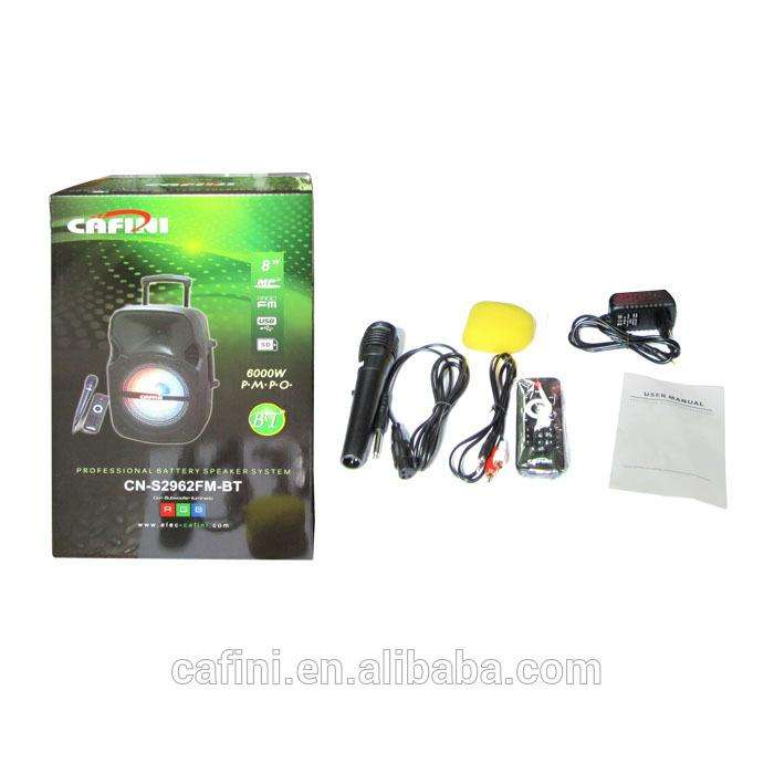 NUEVO caja Parlante Portátil con biela Bluetooth Recargable CAFFINI CN-S2962FM-BT MEDIDAS 23.5cm x 21cm x 41cm