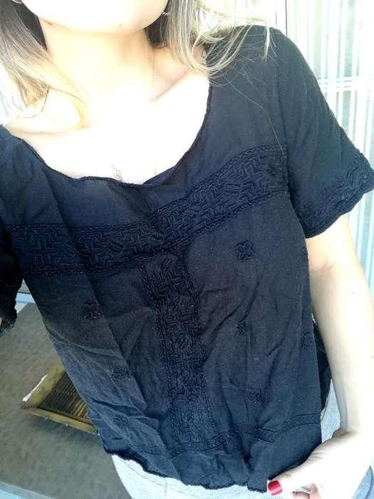 Camisa Negra con Grabados Mango Talla S