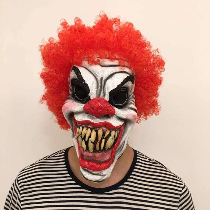 Mascara de moda payaso asesino TI rojo kit con pelo rizado de terror