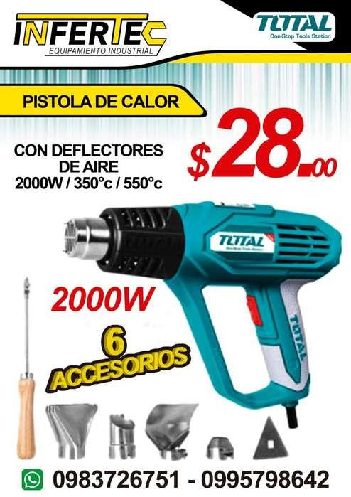 PISTOLA DE CALOR 2000W CON 6 ACCESORIOS MARCA TOTAL