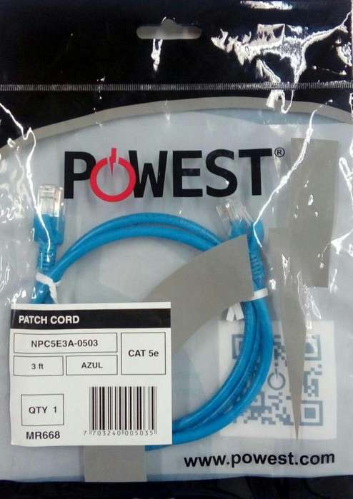 CABLE PATCH CORD CAT 5e 3ft AZUL