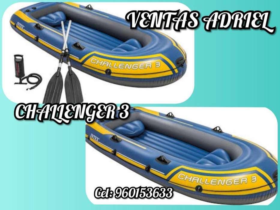 Bote Challenger 3 Remos Playa Laguna Rio