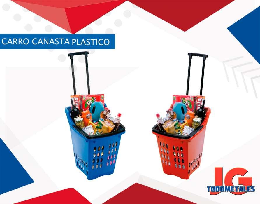 Carro Canasta plástico con rueditas