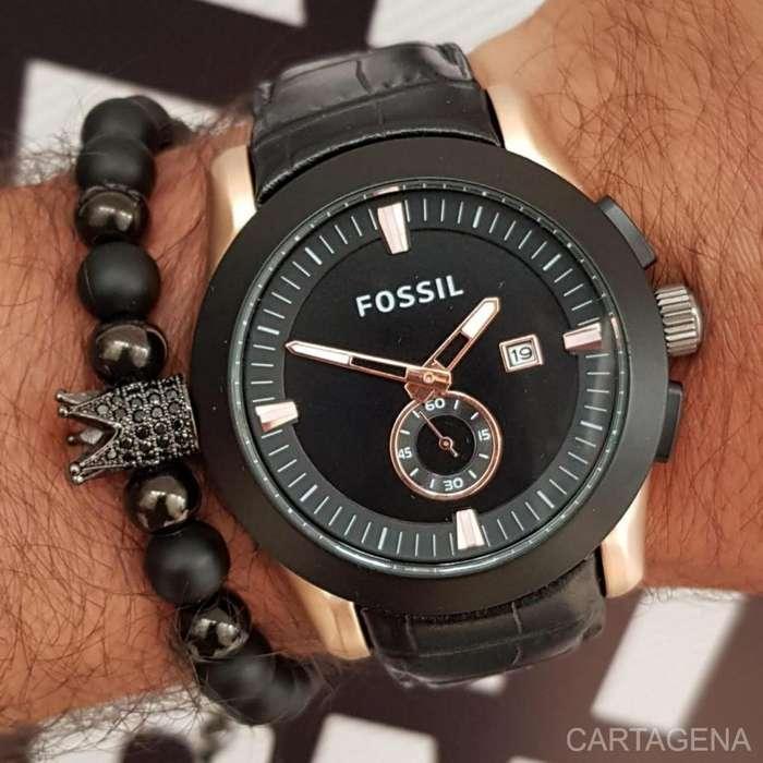 Reloj Fossil de color negro con cobrizo para hombre