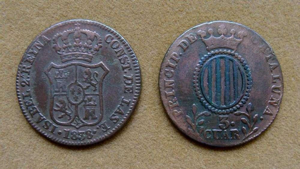 Moneda de 3 cuartos Principado de Cataluña, España 1838