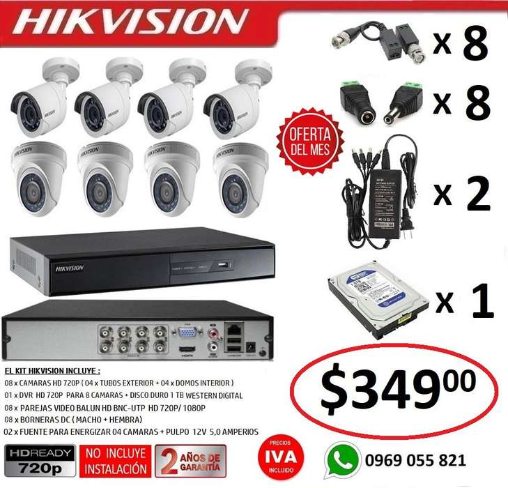 Combo 8 Camaras Seguridad Vigilancia Hd 720p Original Hikvision
