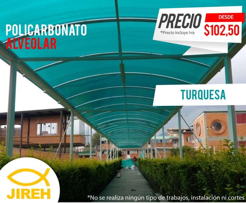 Policarbonato Jireh Turquesa 6mm en Quito, Techos, Alucobond, Acrílico, Cielo raso PVC