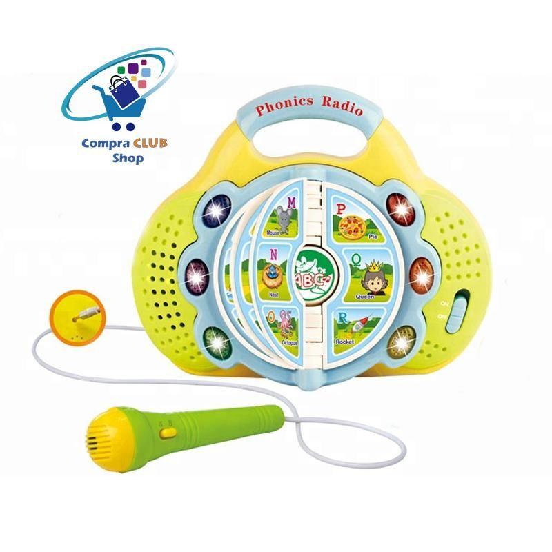 Juguete educativo de aprendizaje con micrófono, música y luces de colores ingles