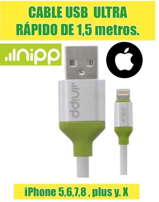 CABLE USB ULTRA RAPIDO DE 1,5 metros IPHONE