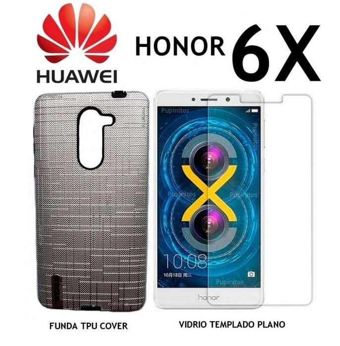 Funda Texturada Vidrio Templado Huawei Honor 6x Rosario