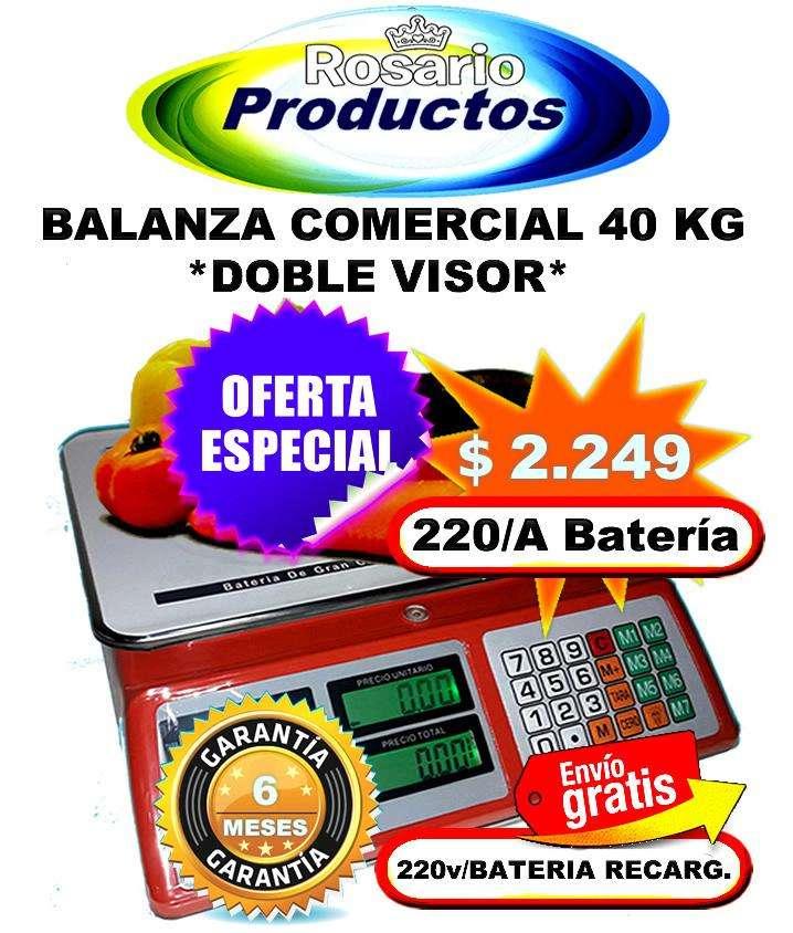 Balanza Negocio 40 Kg Doble Visor a Batería y 220v