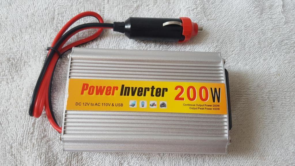 INVERSOR O CONVERTIDOR DE CORRIENTE 200 W 12V DC a 110 NUEVOS!