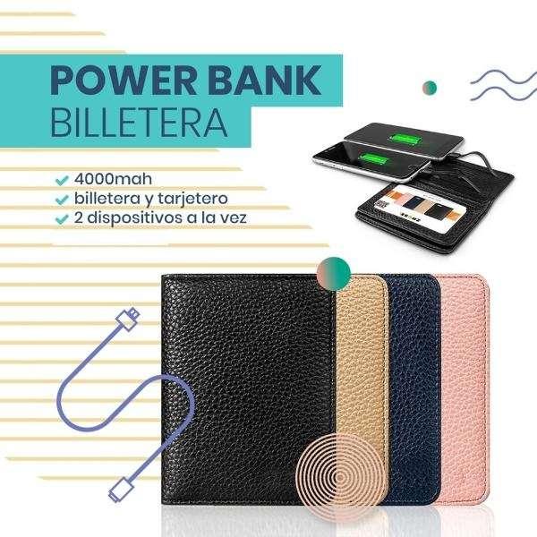 BILLETERA CON CARGADOR PORTÁTIL INCLUIDO POWER BANK 4000MAH