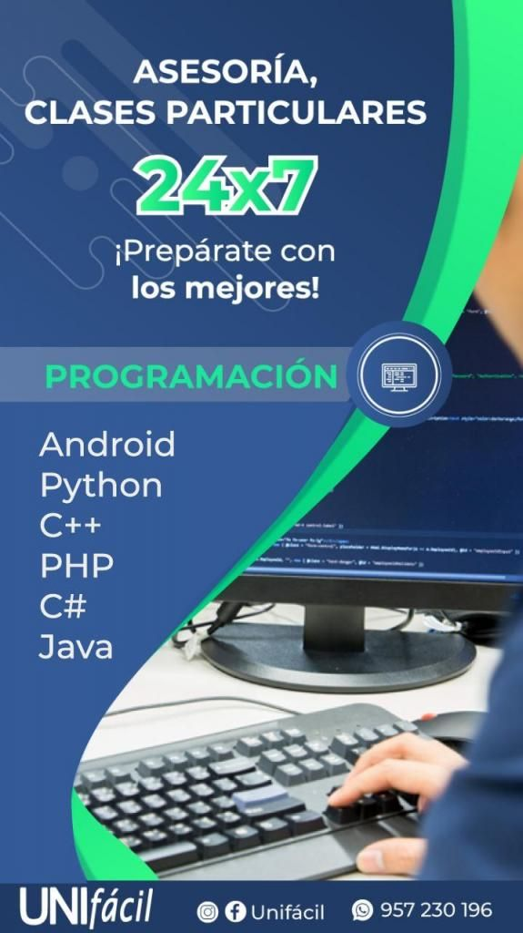 PROFESOR CLASES PARTICULARES DE PROGRAMACIÓN PYTHON RUBY JAVA VISUAL PHP ANDROID KOTLIN CSHARP ALGORITMOS SQL ORACLE