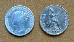 Moneda de 4 peniques de plata Gran Bretaña 1840