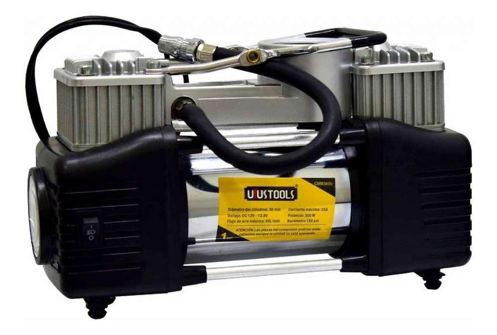 Compresor Aire Doble Cilindro Uyustools Para Camionetas Auto