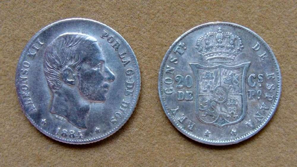 Moneda de 20 céntimos de plata, Filipinas bajo dominio español 1884