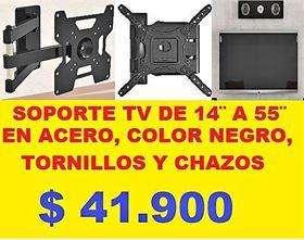Soporte Tv 14 Hasta 55 50 Kilos DE PESO , ACERO Facil Intalacion color negro