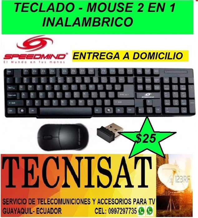TECLADO Y MOUSE INALAMBRICO 2 EN 1 SPEEDMIND PARA PC, LAPTOS, SMARTV..