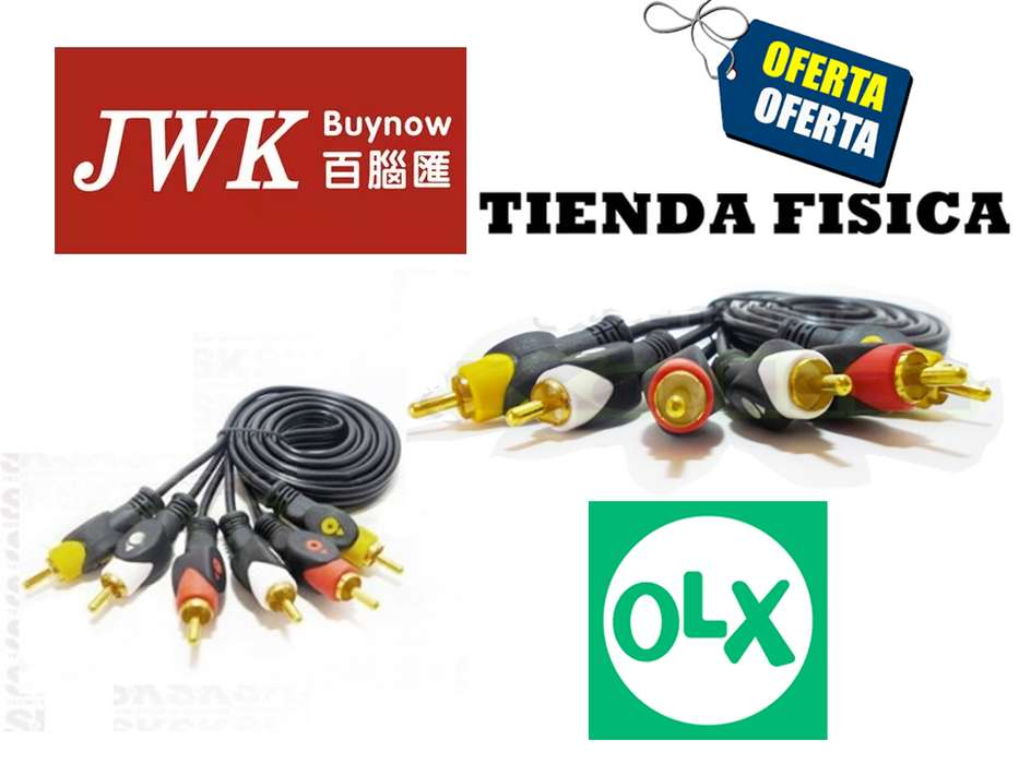 Cable Audio y Video RCA 1.8, 3, 5 mts. Jwk Vision