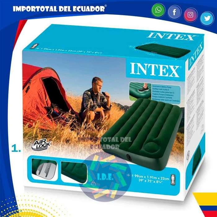 Colchones inflables ''nuevos'' marca Intex / Los verdes con inflador ''incorporado'' / Disponible en ''3 tamaños''