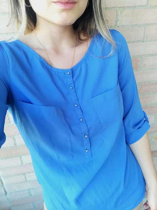 Camisa Azul Zara Talla S