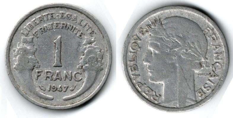 FRANCIA. MONEDA. 1 FRANC. 1947. KM 885A,1. SIN B. 110 M UNIDADES. ESTADO 6 DE 10. VALOR 5800
