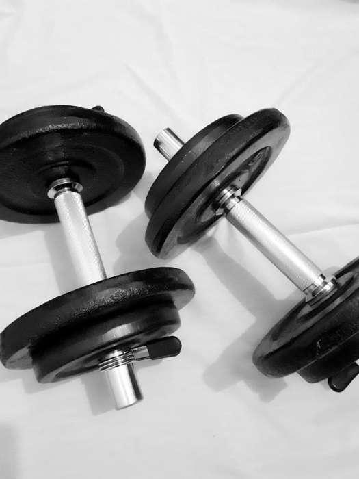 2 Barras Cromadas Y 30kg Discos Pesas